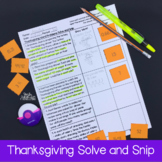 Thanksgiving Math Word Problems Solve and Snip® Interactiv