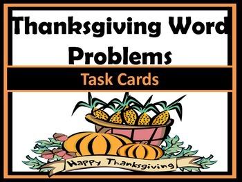 Thanksgiving Word Problems Task Cards