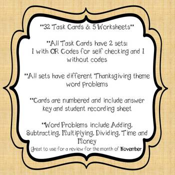 Thanksgiving Word Problems Task Cards and Worksheets