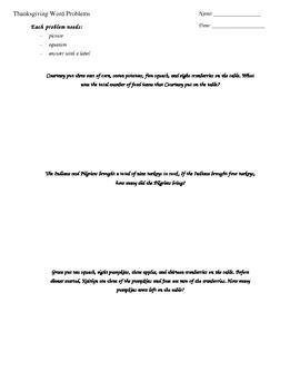 Thanksgiving Word Problems Worksheet