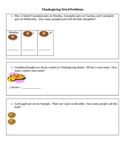 Thanksgiving Word Problems for Math