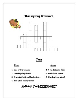 Thanksgiving Word Puzzle