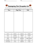 Thanksgiving Word Recognition Sort