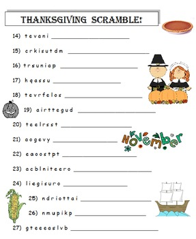 Thanksgiving Word Scramble!