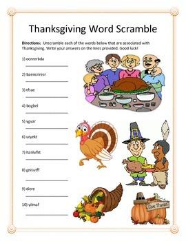Thanksgiving Word Scramble- 10 Words
