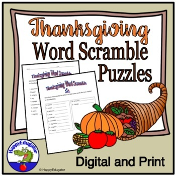 Thanksgiving Puzzles Word Scrambles Vocabulary Activities