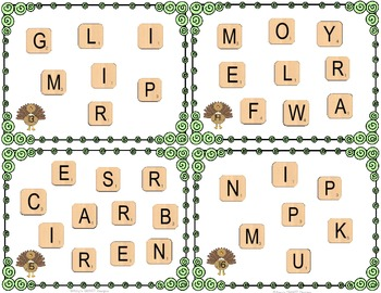 Thanksgiving Word Scramble Cards