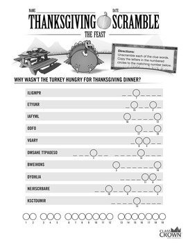 Thanksgiving Word Scramble Puzzle - The Feast