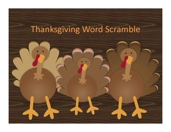 Thanksgiving Word Scramble and Writing Activity