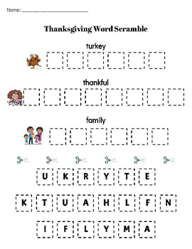 Thanksgiving Word Scramble (differentiated activity)