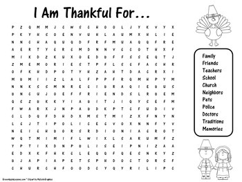 Thanksgiving Activity | Thanksgiving Word Search