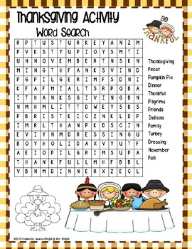 Thanksgiving Activity: Free Word Search