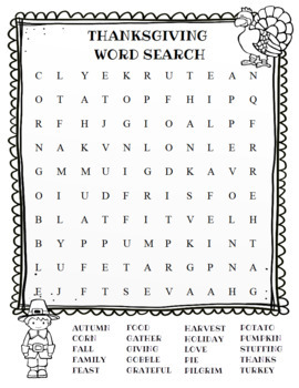 Thanksgiving Word Search (color and BW versions)