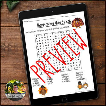 Thanksgiving Word Search