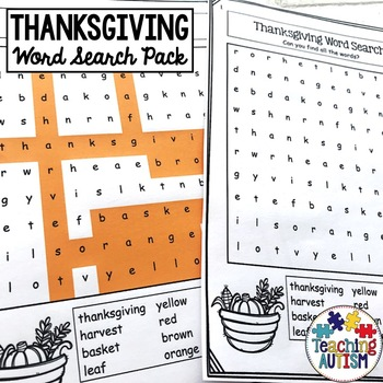 Thanksgiving Word Search Worksheets