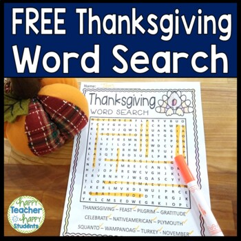 FREE Thanksgiving Word Search Activity
