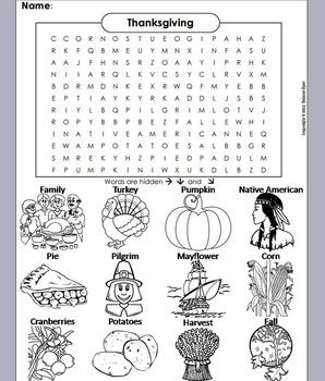 Thanksgiving Word Search/ Coloring Sheet