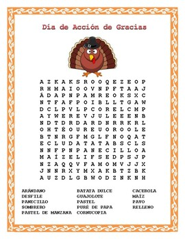 Thanksgiving Word Search & Double Puzzle in Spanish