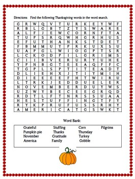 Thanksgiving Word Search:  {FREEBIE}