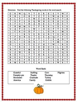 Thanksgiving Word Search:  {FREEBIE}