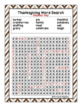 Thanksgiving Word Search FREEBIE!