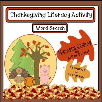 Thanksgiving Word Search Literacy Activity: Nursery Crimes by Arthur Geisert
