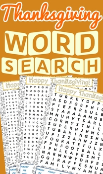 Thanksgiving Word Search Pack!