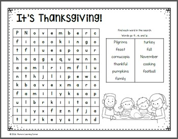 Thanksgiving Word Search Packet