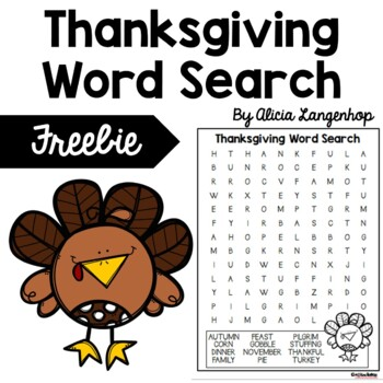 Thanksgiving Word Search Puzzle *FREEBIE* by MsKinderhop   TpT
