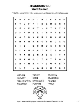 Thanksgiving - Word Search Puzzle, Word Scramble,  Secret Code,  Crack the Code