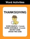 Thanksgiving - Word Search Puzzle, Word Scramble,  Secret