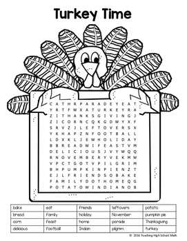 Thanksgiving Word Search Second Grade