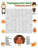 """Thanksgiving Word Search"" Thanksgiving Words – Fun! (Color and Black Line)"