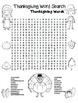 """""""Thanksgiving Word Search"""" Thanksgiving Words – Fun! (Color and Black Line)"""