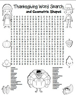 """Thanksgiving Word Search"" Thanksgiving Words & Geometric Shapes! (Color&Black)"