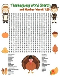 """Thanksgiving Word Search"" Thanksgiving Words & Number Words 1-20 (Color&Black)"
