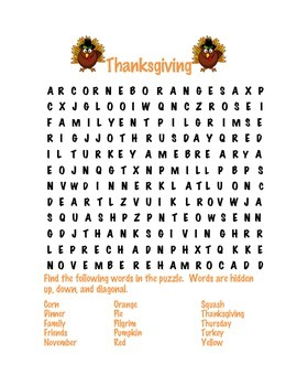 Thanksgiving Word Search and Scramble