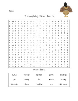 Thanksgiving Word Search and Word Jumble