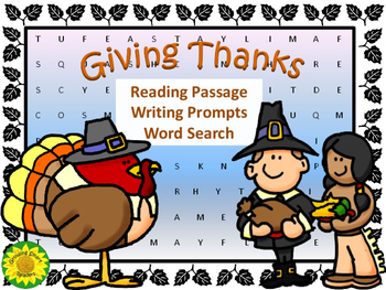 Thanksgiving Reading, Writing, and Word Search