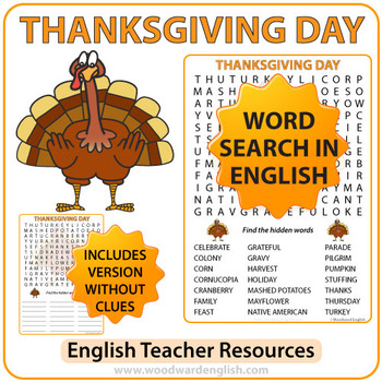 Thanksgiving Word Search in English
