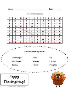 Thanksgiving Word Search with Answer Key