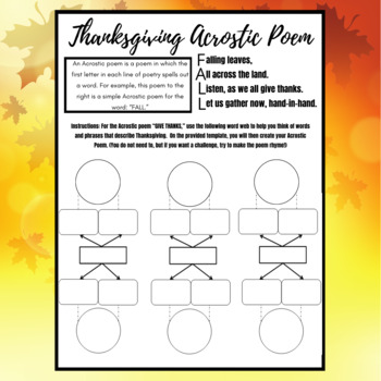 Thanksgiving Writing Activity: Acrostic Poem