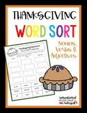 Thanksgiving Word Sort- Nouns, Verbs, Adjectives