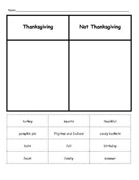 Thanksgiving Word Sort, Thanksgiving Addition Math, Thanksgiving Feast Money
