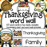 Thanksgiving Word Wall 65 word cards 2 sizes, plus word list