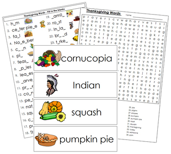 Thanksgiving Word Wall Cards, Plus!