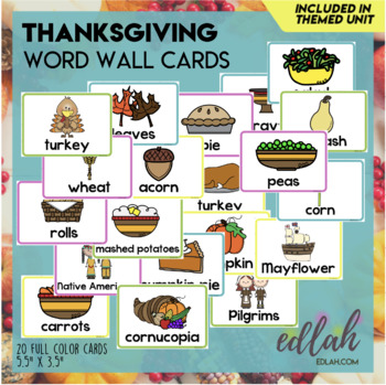 Thanksgiving Vocabulary Word Wall Cards (set of 19) - Full Color Version
