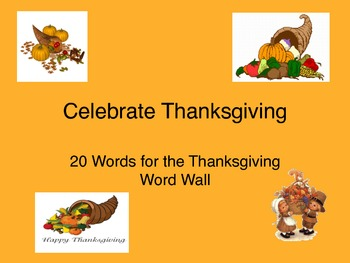Thanksgiving Word Wall Grade 4 to 6