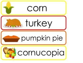 Thanksgiving Word Wall Weekly Theme Posters.