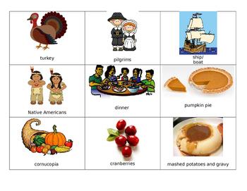 Thanksgiving Word Wall Words/Flashcards ESL/K-4
